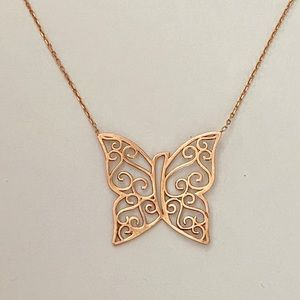 Jewelry - 925 Silver rustic butterfly necklace rose gold
